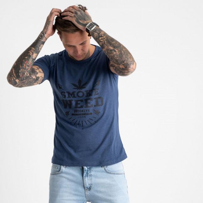 2613-14 темно-синяя футболка мужская с принтом (4 ед. размеры: M.L.XL.2XL) Футболка: артикул 1120999