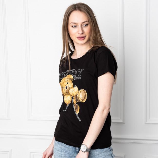 2505-1 Akkaya черная футболка женская с принтом стрейчевая (4 ед. размеры: S.M.L.XL) Akkaya: артикул 1119710