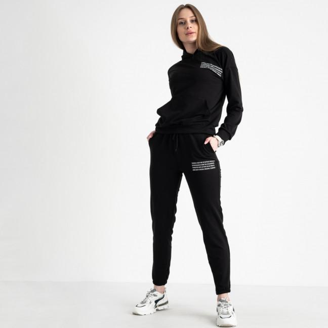 15225-1 черный женский спортивный костюм из двунитки (4 ед. размеры: S.M.L.XL) Спортивный костюм: артикул 1119993