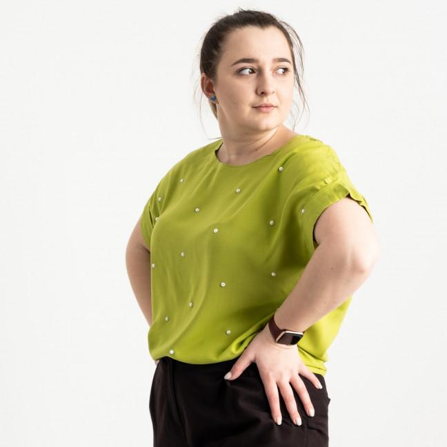 1700-8 блузка батальная зеленая с бусинками (5 ед. размеры: 46.48.50.52.54) Блузка: артикул 1120124