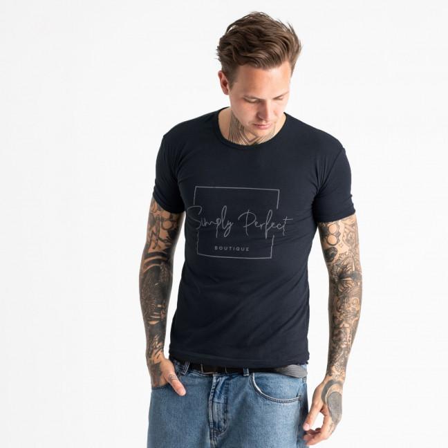 2603-14 темно-синяя футболка мужская с принтом (4 ед. размеры: M.L.XL.2XL) Футболка: артикул 1120901