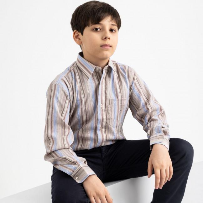 1909 Boston Public бежевая рубашка в полоску на мальчика 7-15 лет (5 ед. размеры: 30/31.32/33.33/34.34/35.35/36) Boston Public: артикул 1118417