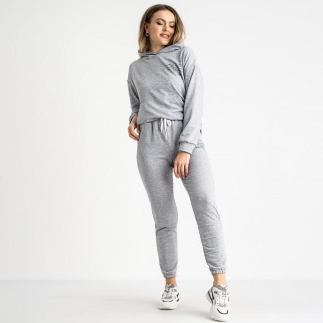 15225-13 серый женский спортивный костюм из двунитки (4 ед. размеры: S.M.L.XL) Спортивный костюм: артикул 1119994