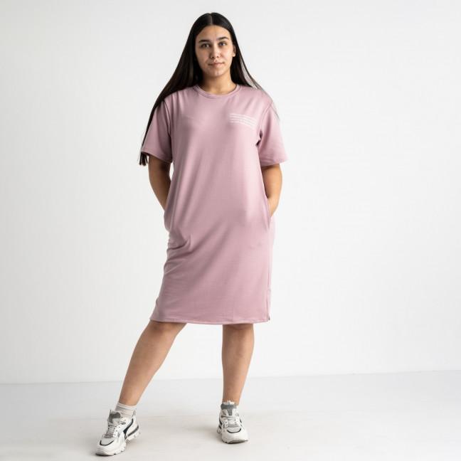 5566-2 Mishely платье розовое полубатальное из двунитки  (4 ед. размеры: 46.48.50.52) Mishely: артикул 1123437