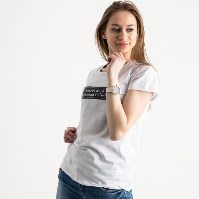2571-10 белая футболка женская с принтом (3 ед. размеры: S.M.L) Футболка: артикул 1119153