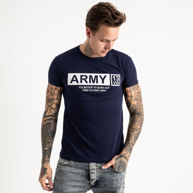 2717 темно-синяя футболка батальная мужская с принтом (4 ед. размеры: XL.2XL.3XL.4XL) Футболка: артикул 1119526