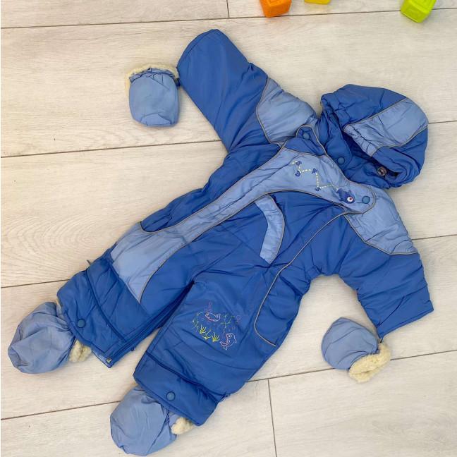 0159-3 Super Clever голубой комбинезон-трансформер на овчине на мальчика от 6 мес до 1,5 года ( 4 ед размеры: 68.74.80.86) Super Clever: артикул 1123593