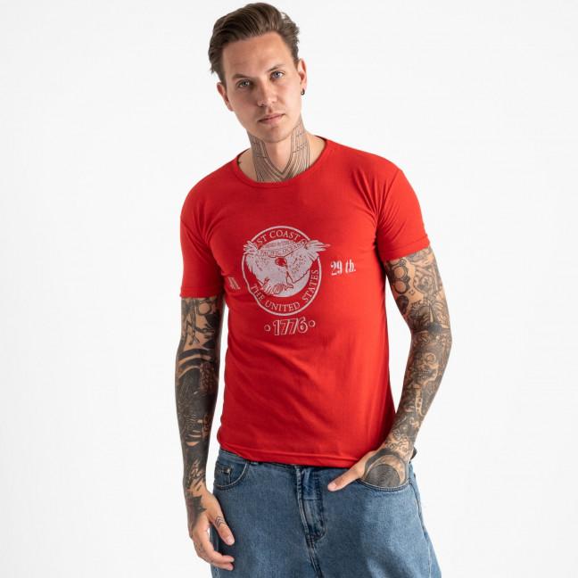 2606-3 красная футболка мужская с принтом (4 ед. размеры: M.L.XL.2XL) Футболка: артикул 1120928