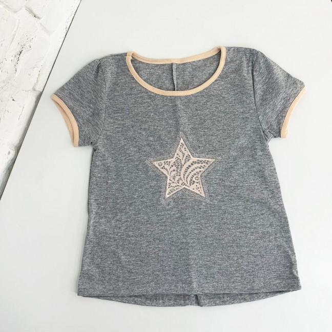 1096 футболка серая на девочку 5-7 лет (3 ед размеры: 110.116.122) Маленьке сонечко: артикул 1121940