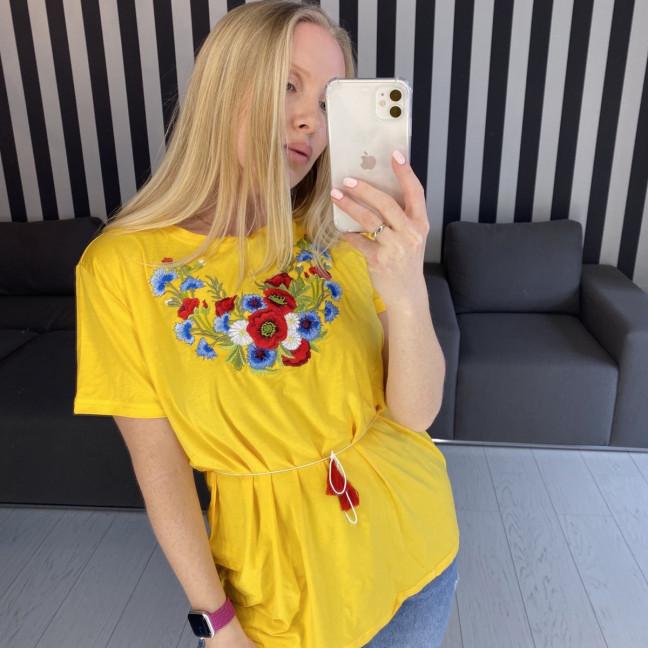 1820 желтая футболка-вышиванка женская микс моделей (5 ед. размеры: S.M.L.XL.2XL) Футболка: артикул 1121157