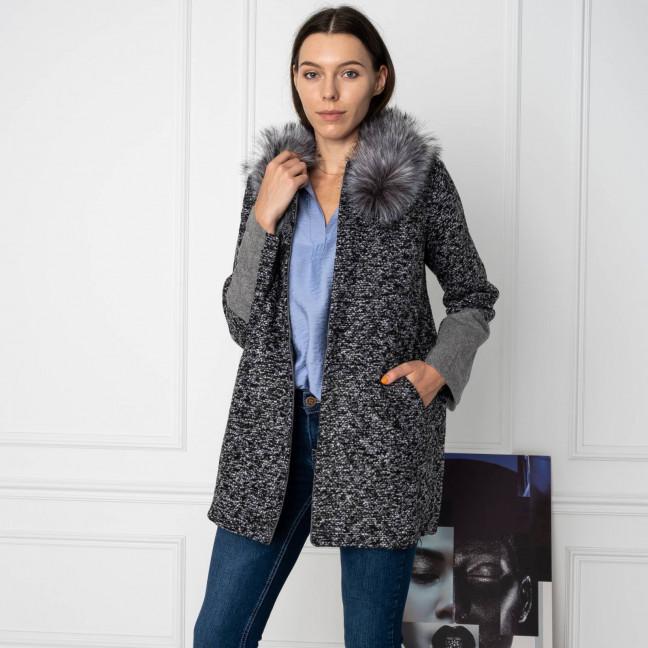 0905 Q.M пальто женское серое (4 ед. размеры: L.XL.2XL.3XL) Q.M: артикул 1123675