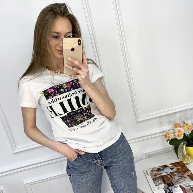 2517-10 Akkaya белая футболка женская с принтом стрейчевая (4 ед. размеры: S.M.L.XL) Akkaya: артикул 1119792