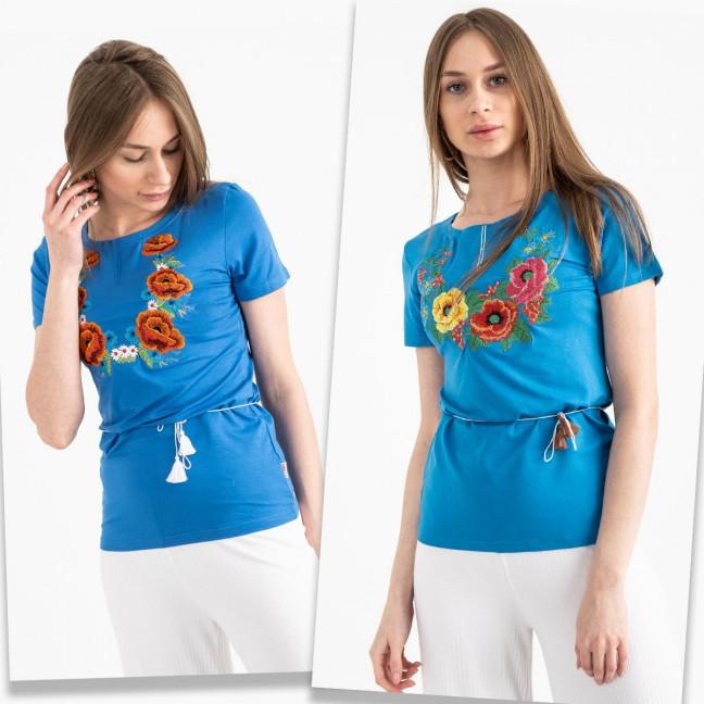 1822  голубая футболка-вышиванка женская микс моделей (5 ед. размеры: S.M.L.XL.2XL) Футболка: артикул 1120656