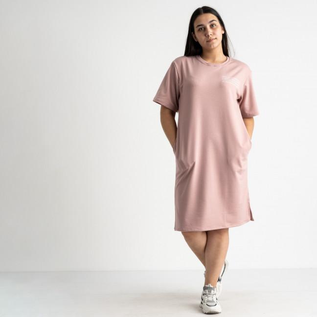 5566-1 Mishely платье пудровое полубатальное из двунитки  (4 ед. размеры: 46.48.50.52) Mishely: артикул 1123436