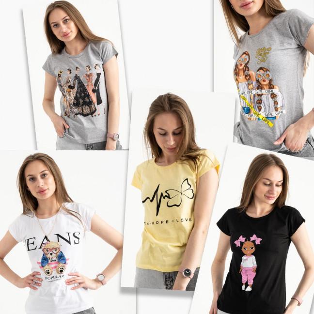 2499-1 футболка женская микс 5-ти моделей и цветов без выбора цветов (20 ед. размеры: S/5.M/5.L/5.XL/5) Шорты: артикул 1122472