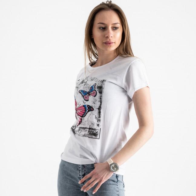 2507-10 Akkaya белая футболка женская с принтом стрейчевая (4 ед. размеры: S.M.L.XL) Akkaya: артикул 1119758
