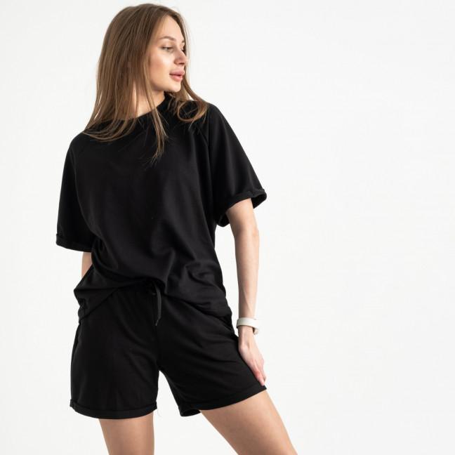 1445-1 Mishely черный женский спортивный костюм с шортами (4 ед. размеры: S.M.L.XL) Mishely: артикул 1121755