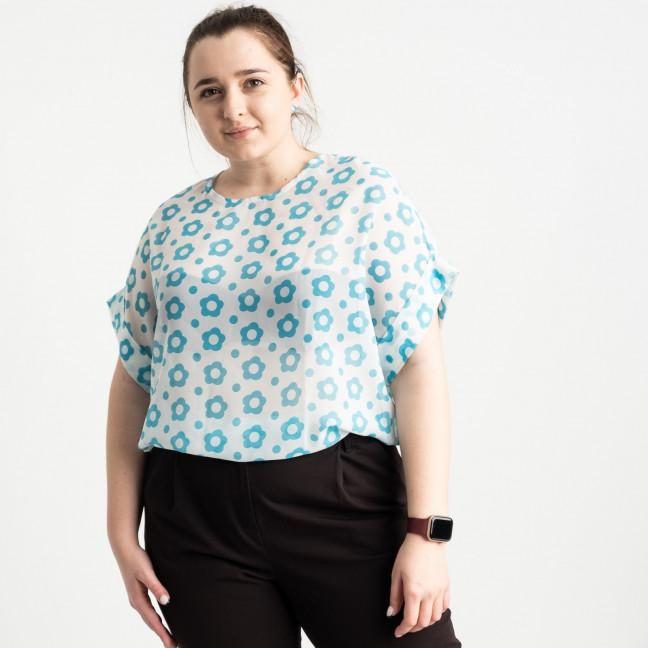 1700 блузка батальная белая с принтом (5 ед. размеры: 46.48.50.52.54) Блузка: артикул 1120113