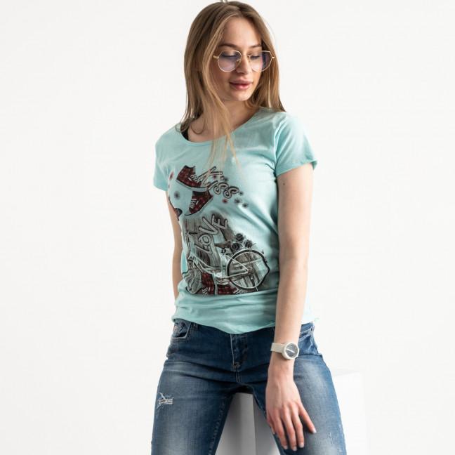 2586-4 зеленая футболка женская с принтом (4 ед. размеры: S.M.L.XL) Футболка: артикул 1119230
