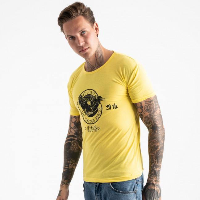 2606-6 желтая футболка мужская с принтом (4 ед. размеры: M.L.XL.2XL) Футболка: артикул 1120930