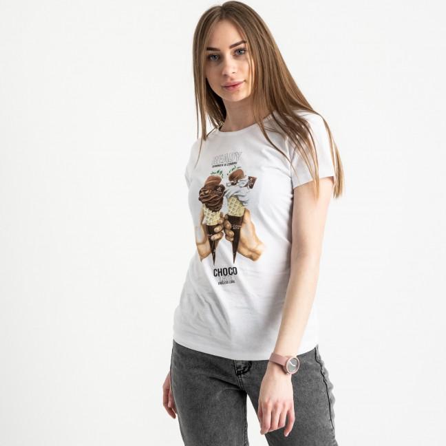 2512-10 Akkaya белая футболка женская с принтом стрейчевая (4 ед. размеры: S.M.L.XL) Akkaya: артикул 1119761