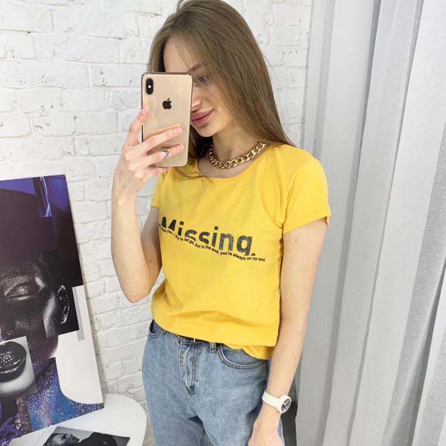 2401-66 горчичная футболка женская с принтом (4 ед. размеры: S.M.L.XL) Футболка: артикул 1122366