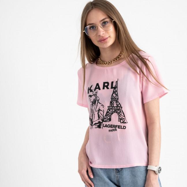 2056-33 футболка розовая женская с принтом (5 ед. размеры: 42.44.46.48.50) Футболка: артикул 1122379