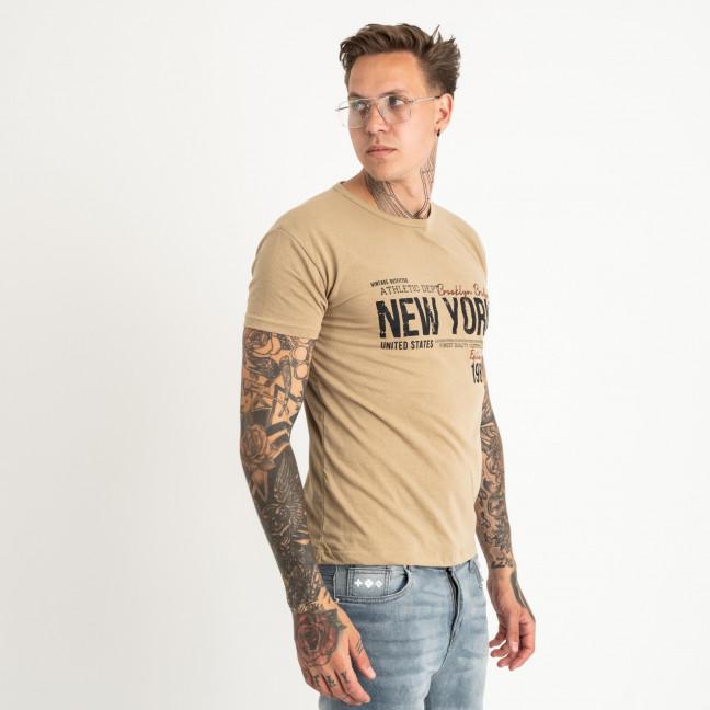 2615-11 бежевая футболка мужская с принтом (4 ед. размеры: M.L.XL.2XL) Футболка: артикул 1121020