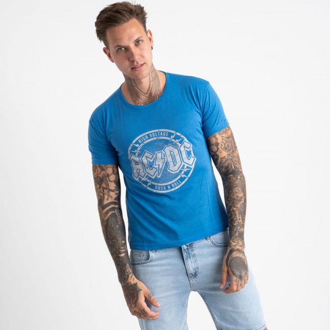 2628-13 голубая футболка мужская с принтом (4 ед. размеры: M.L.XL.2XL) Футболка: артикул 1121099