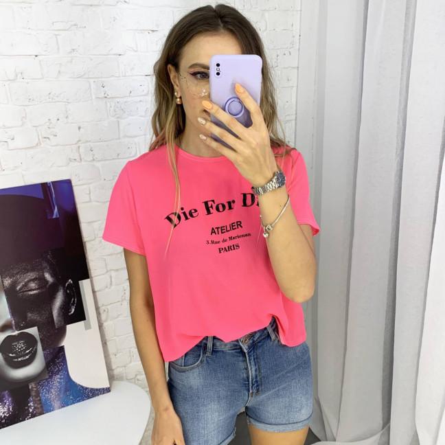 2024-3 футболка женская розовая батальная с принтом (5 ед. размеры: 52.54.56.58.60) Футболка: артикул 1122409