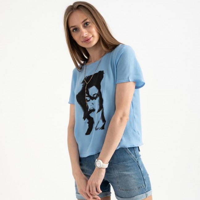 2022-13 футболка голубая женская с принтом (5 ед. размеры: 42.44.46.48.50) Футболка: артикул 1122395
