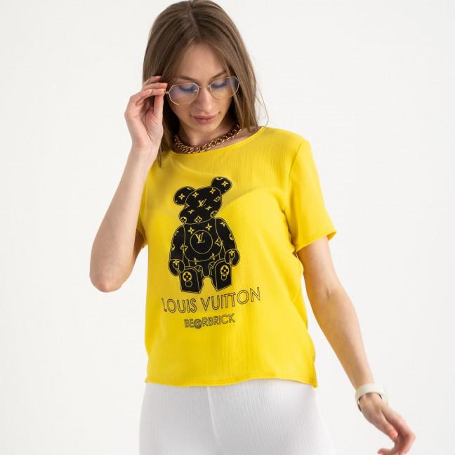 2021-6 футболка желтая женская с принтом (5 ед. размеры: 42.44.46.48.50)   Футболка: артикул 1122192