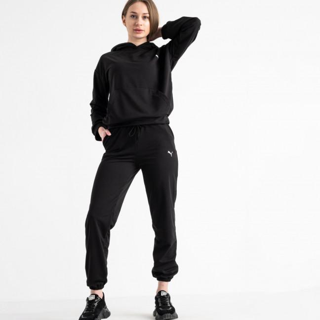 15222-1 черный женский спортивный костюм из двунитки (4 ед. размеры: S.M.L.XL) Спортивный костюм: артикул 1117827