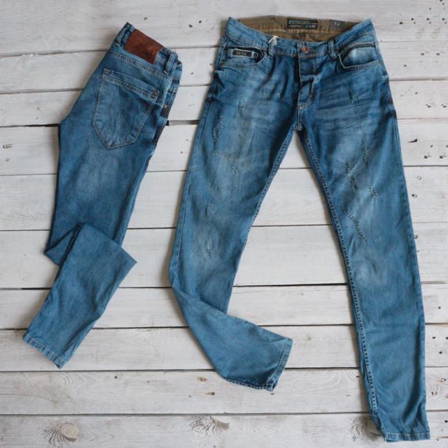 1683 Orjean джинсы мужские с царапками голубые стрейчевые (7 ед. размеры: 29.30.32.32.33.34.36) Orjean: артикул 1116618