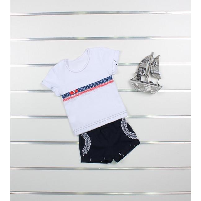 """0400 комплект """"морячка"""" детский на девочку 3-9 месяцев (3 ед. размеры: 62.68.74) Маленьке сонечко: артикул 1121533"""