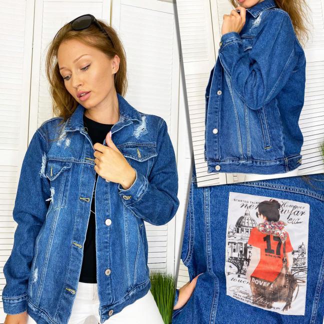 Куртка джинсовая женская с нашитым принтом осенняя котоновая Xray 2950-14  XRAY: артикул 1111098