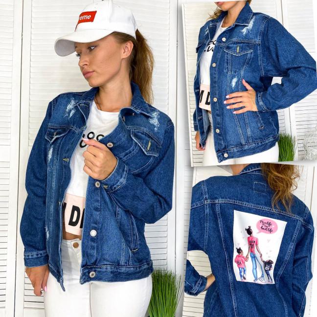 2950-12 Xray куртка джинсовая женская с нашитым принтом осенняя котоновая (34-40, евро, 4 ед.) XRAY: артикул 1110993
