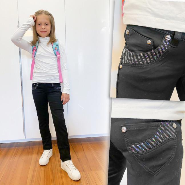 2036 Lafeidina джинсы на девочку черные с декоративной отделкой осенние стрейчевые (21-27, 7 ед.) Lafeidina: артикул 1109391
