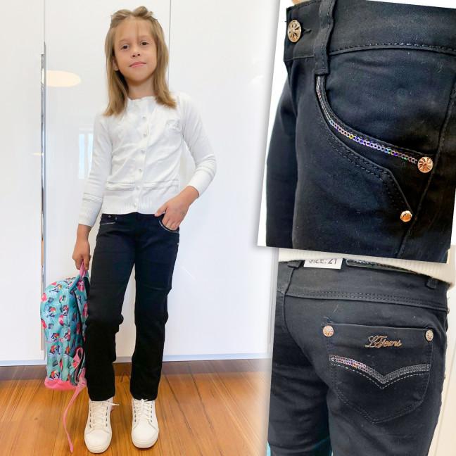 2025 Lafeidina джинсы на девочку черные осенние стрейчевые (21-27, 7 ед.) Lafeidina: артикул 1109392