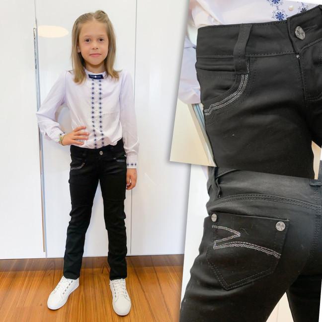 2031 Lafeidina джинсы на девочку черные с декоративной отделкой осенние стрейчевые (21-27, 7 ед.) Lafeidina: артикул 1109387