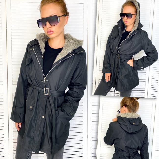 78506-1 черная Lewano куртка женская удлиненная на синтепоне осенняя (XS,S,M,L, 4 ед.) Lewano: артикул 1111643