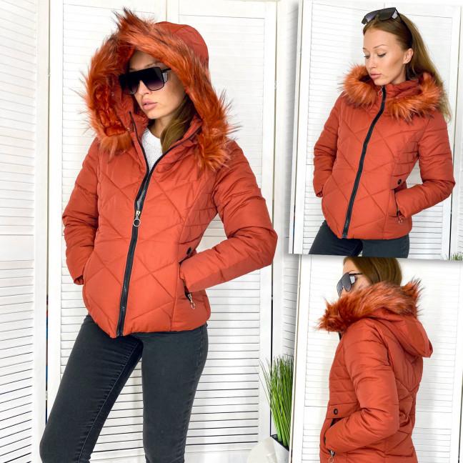 9801-2 кирпичный Xinxinjintaiyang куртка женская демисезонная с капюшоном и мехом (M,L,XL,2XL,2XL, 5 ед.) Xinxinjintaiyang: артикул 1112247