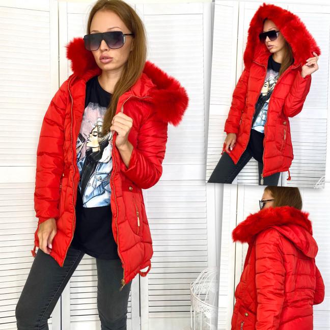 1593-1 красная BXJY куртка женская на утеплителе с капюшоном и мехом евро зима (L,L,L,XL) BXJY: артикул 1112752
