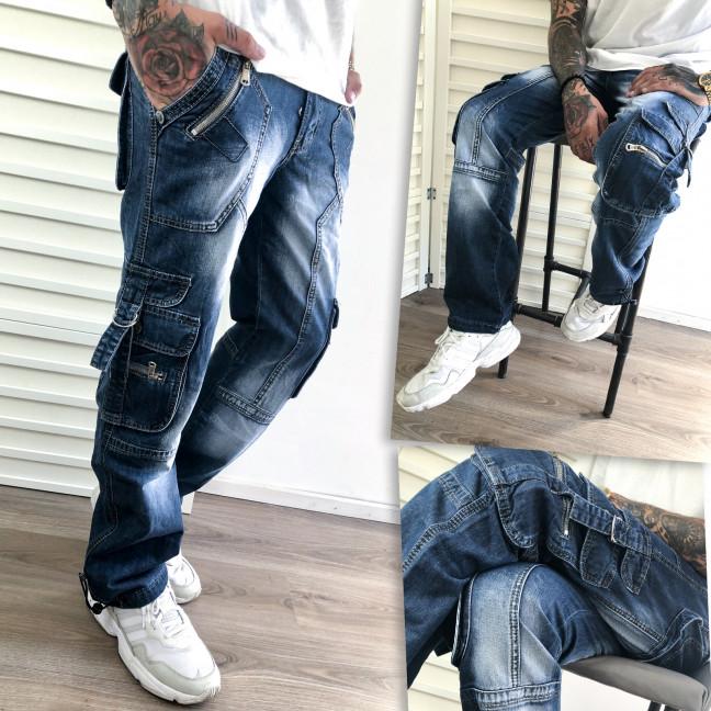 5814-2 Vigoocc джинсы мужские синие с боковыми карманами и декоративной отделкой осенние котоновые (29-36, 7 ед.) Vigoocc: артикул 1112784