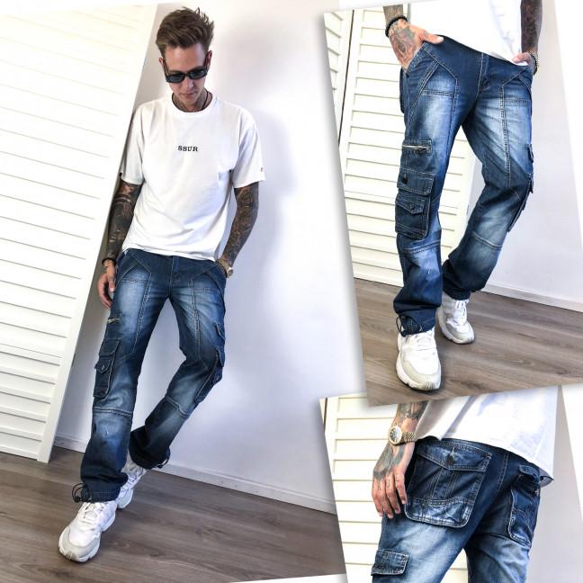 5826-02-01 Vigoocc джинсы мужские синие с боковыми карманами и декоративной отделкой осенние котоновые (29-34, 6 ед.) Vigoocc: артикул 1116020