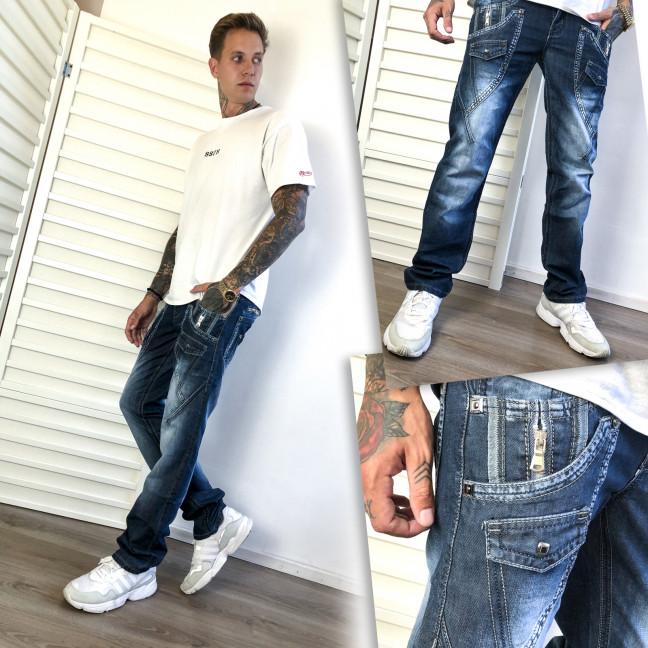 5862-3 Vigoocc джинсы мужские синие с декоративной отделкой осенние котоновые (28-34, 7 ед.) Vigoocc: артикул 1112788