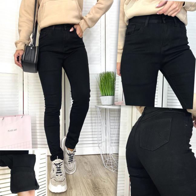 0569 New Jeans американка полубатальная на флисе черная зимняя стрейчевая (28-33, 6 ед.) New Jeans: артикул 1113793