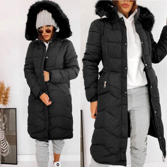 160761 черная Shengda куртка женская на утплителе с мехом зимняя (M-3XL, 5 ед.) Shengda: артикул 1114269