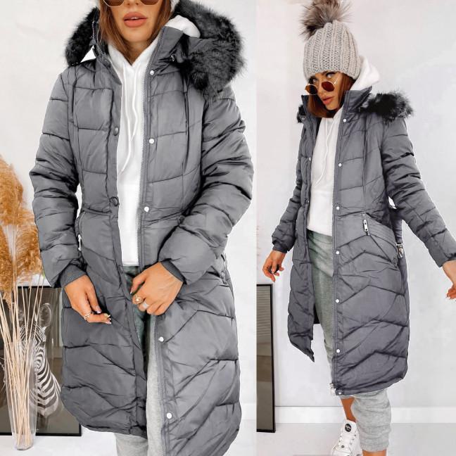 160763 серая Shengda куртка женская на утеплителе с мехом зимняя (M-3XL, 5 ед.) #суперцена Shengda: артикул 1114864