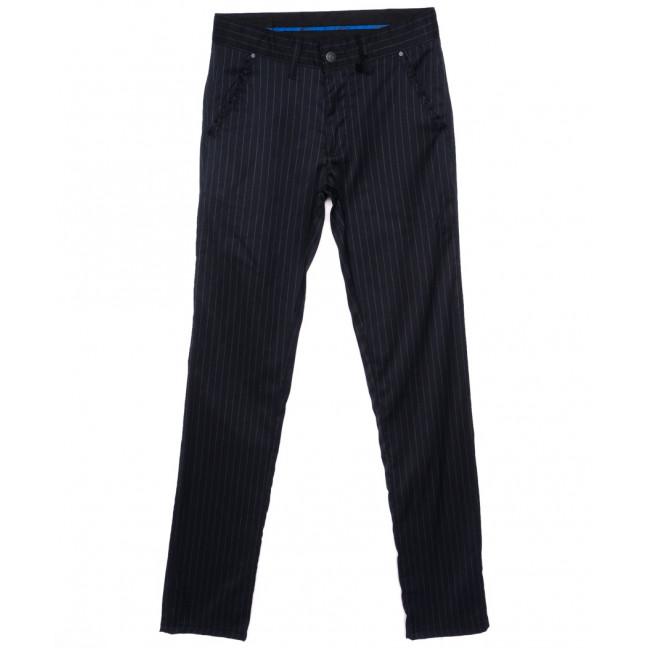 2027-009 Lenciro брюки мужские молодежные темно-синие в полоску весенние стрейч-котон (28-36, 8 ед.) Lenciro: артикул 1094007